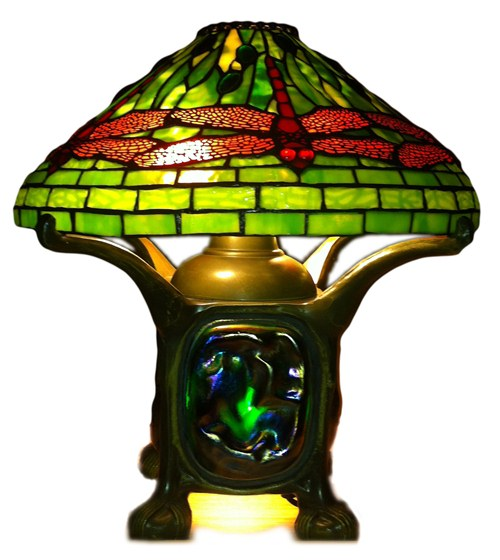 Classic Fuel Oil Style lamp with a Tiffany Dragonfly shade.